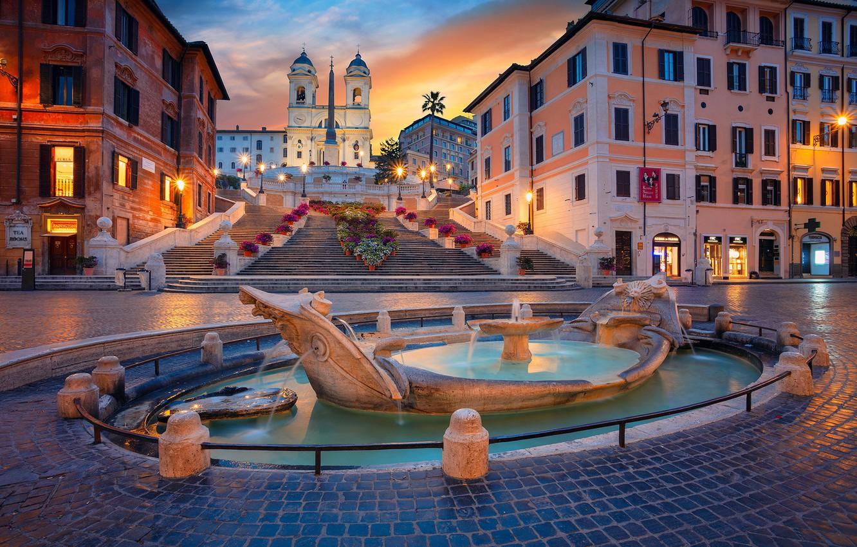 Фото обои здания, дома, площадь, Рим, Италия, лестница, церковь, фонтан, Italy, Rome, Испанская лестница, Площадь Испании, Fontana …