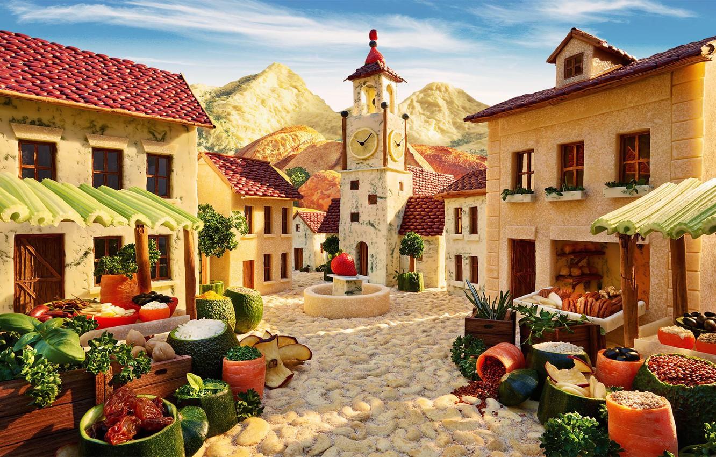 Фото обои зелень, сыр, хлеб, фрукты, орехи, овощи, фасоль, сухофрукты, Карл Уорнер, фуд-фото, съедобный городок