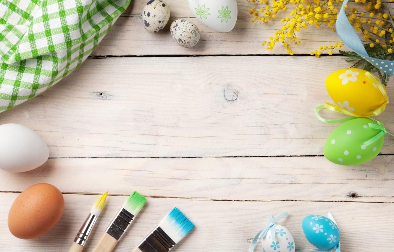 Фото обои цветы, Пасха, wood, spring, Easter, eggs, decoration, Happy, мимоза