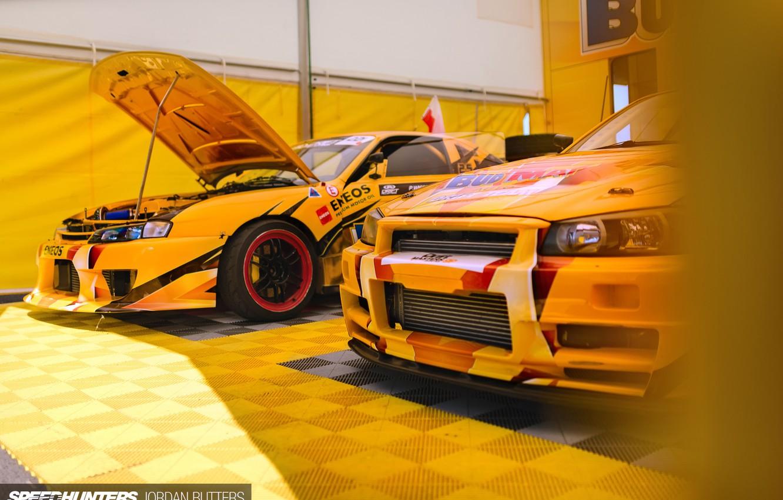 Фото обои желтый, гонка, Nissan, дрифт машины