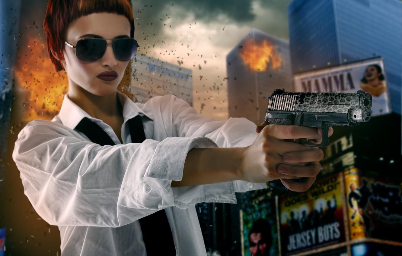 Фото обои девушка, пистолет, оружие