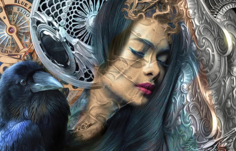 Фото обои девушка, птица, мистика, ворон
