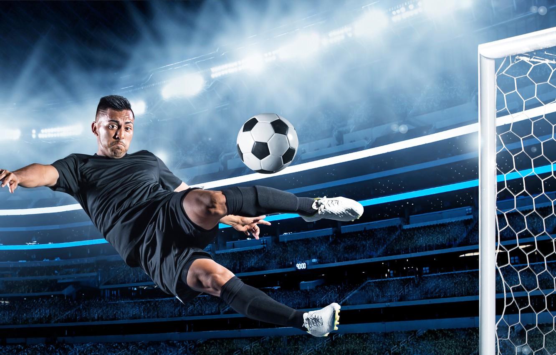 Фото обои поле, прыжок, футбол, игра, шорты, мяч, ворота, футболка, спортсмен, мужчина, гольфы, футболист, униформа, кроссовки, трибуны, …