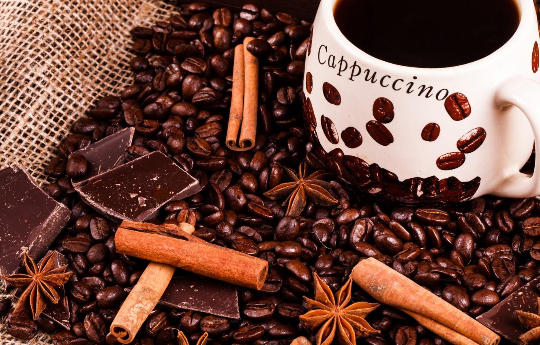 Oboi Shokolad Kofe Korica Kofejnye Zerna Kartinki Na Rabochij Stol