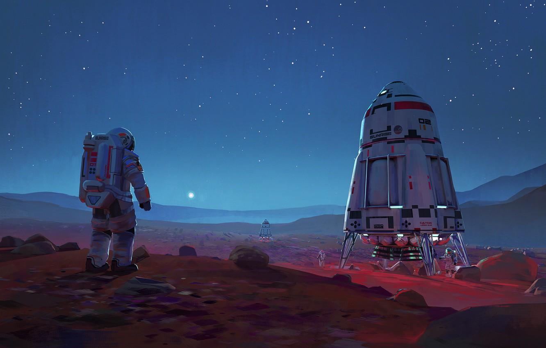 Фото обои fantasy, sky, science fiction, rocks, stars, sci-fi, painting, planet, digital art, artwork, Mars, space ships, ...