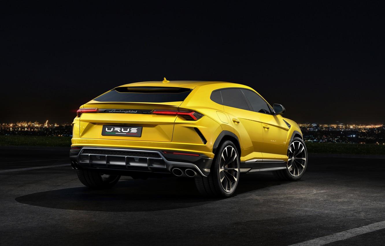 Фото обои Lamborghini, вид сзади, 2018, Urus