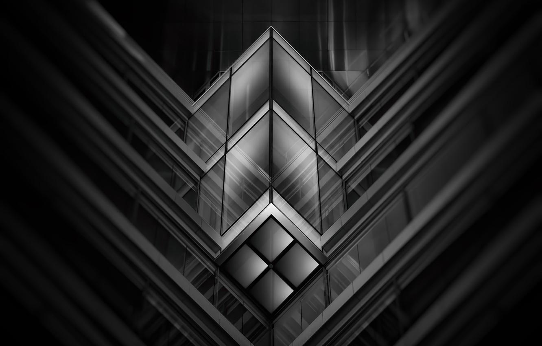 Фото обои стекло, линии, узор, здание