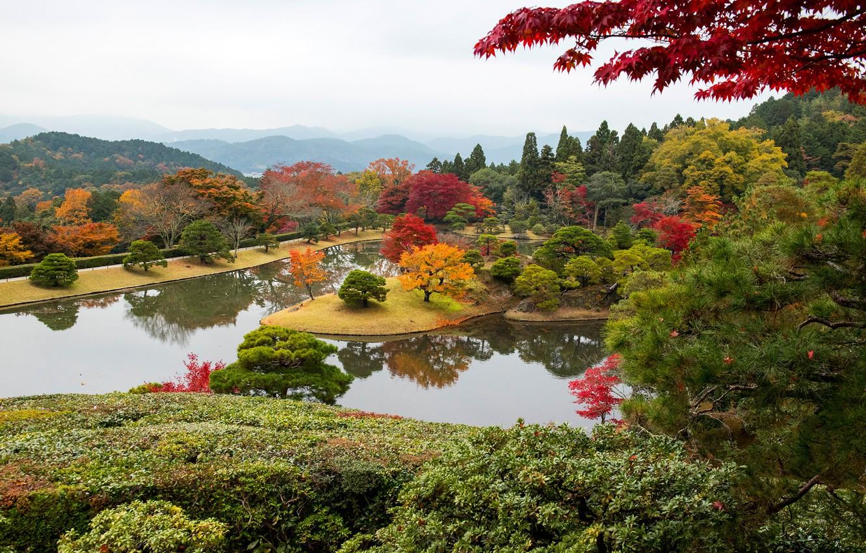 Фото обои осень, лес, деревья, горы, дизайн, туман, пруд, парк, Япония, Киото, кусты, Shugakuin Imperial Villa