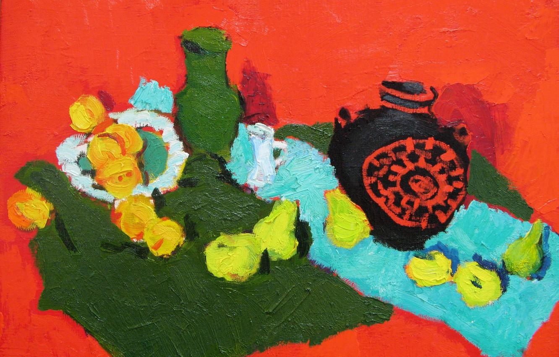 Фото обои яблоки, натюрморт, оранжевый фон, груши, 2007, Петяев