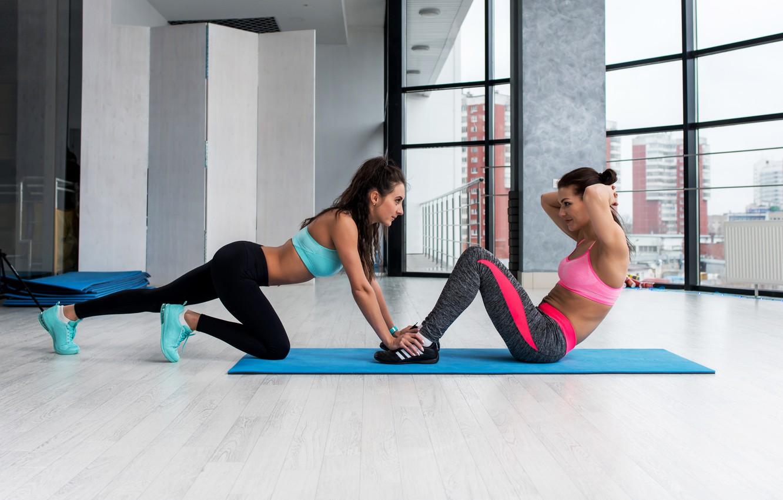 Фото обои couple, workout, fitness, abs