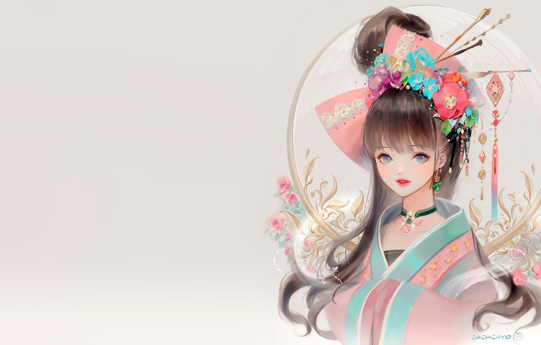 Фото обои девушка, цветы, фентези, аниме, арт, кимоно, dadachyo, кандзаси