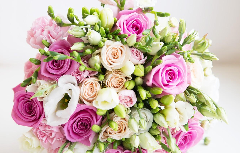 Фото обои букет, white, pink, flowers, roses, свадебный, wedding bouquet