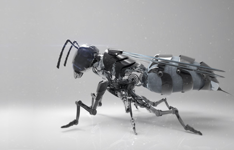Фото обои оса, механизм, арт, жало, Mech wasp, Dzmitry Doryn