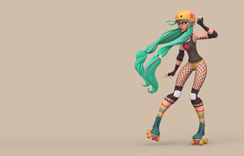 Фото обои девушка, ролики, Christopher Dean, Roller Derby Girl