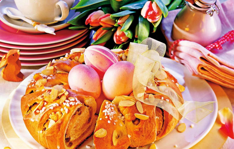 Фото обои кофе, яйца, Пасха, тюльпаны, кулич