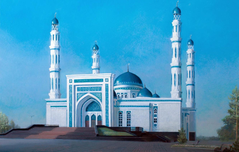 Фото обои пейзаж, Айбек Бегалин, 2013г, Мечеть в Караганде