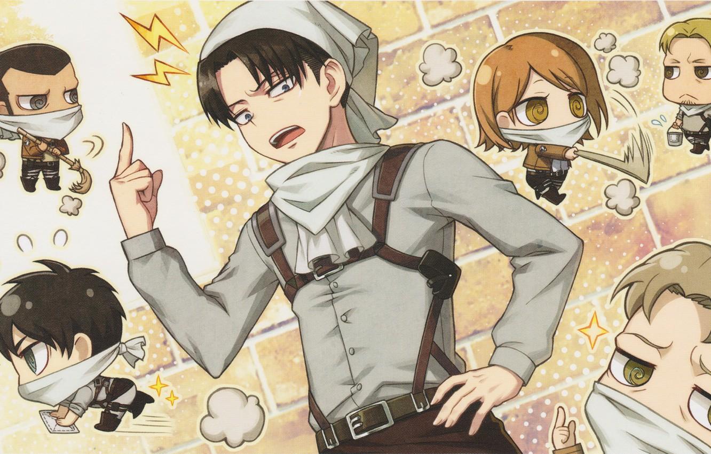 Фото обои уборка, ведро, эмблема, метла, платок, военная форма, кирпичная стена, Attack on Titan, Shingeki no Kyojin, …
