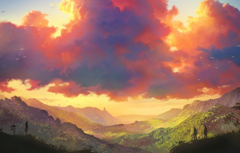 Фото обои небо, птицы, люди, холмы, долина, простор, art, путники, розовые облака, Tohad
