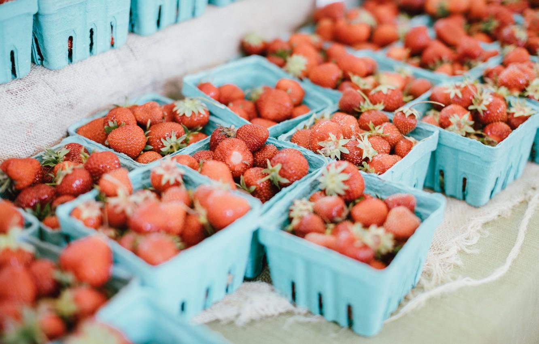Фото обои клубника, ягода, красная, много