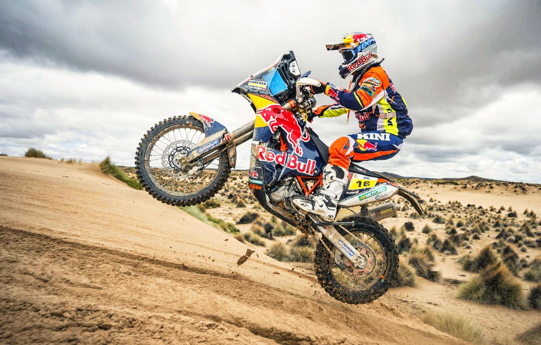 Фото обои Спорт, Скорость, Мотоцикл, Гонщик, Мото, Bike, Rally, Dakar, Дакар, Ралли, Moto, RedBull, Motorbike