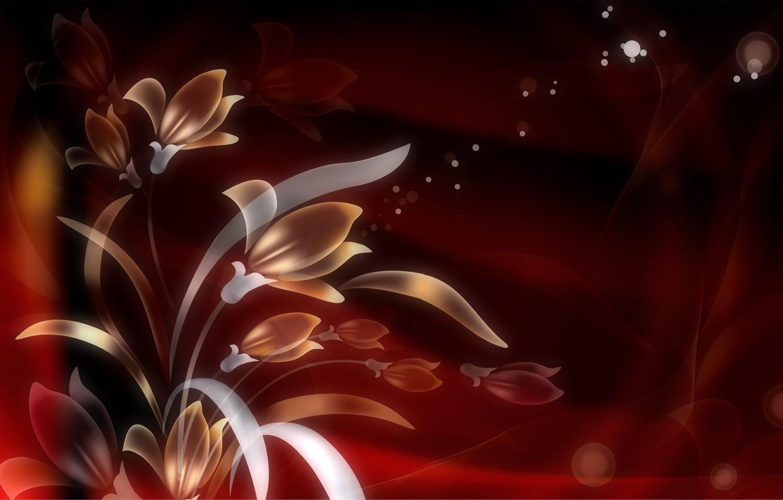 Фото обои листья, цветы, фон, графика, текстура, фрактал, боке