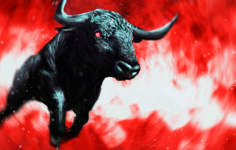 Фото обои черный, погоня, ярость, рога, вихрь, красные глаза, бык, бешеный, кровавый туман
