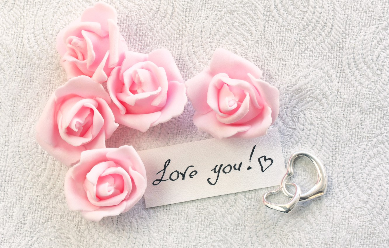 Обои gift, сердечки, roses, розовые розы, I love you. Настроения foto 16