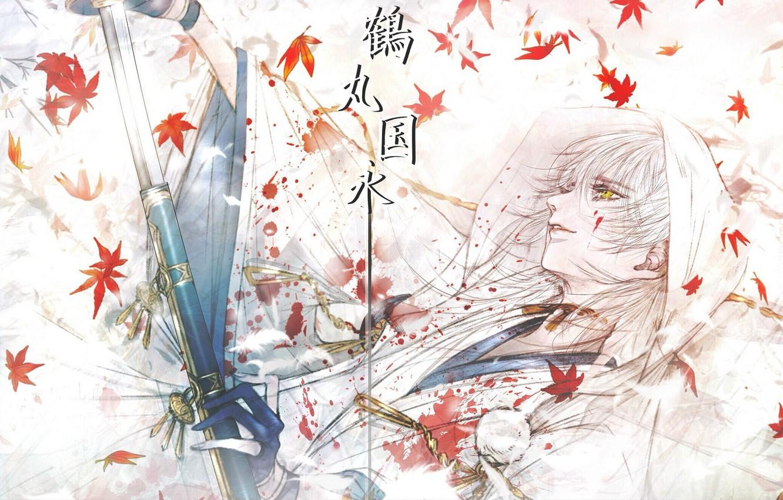 Фото обои кровь, катана, самурай, иероглифы, перчатки, парень, белые волосы, японская одежда, кленовые листья, желтые глаза, ножны, …