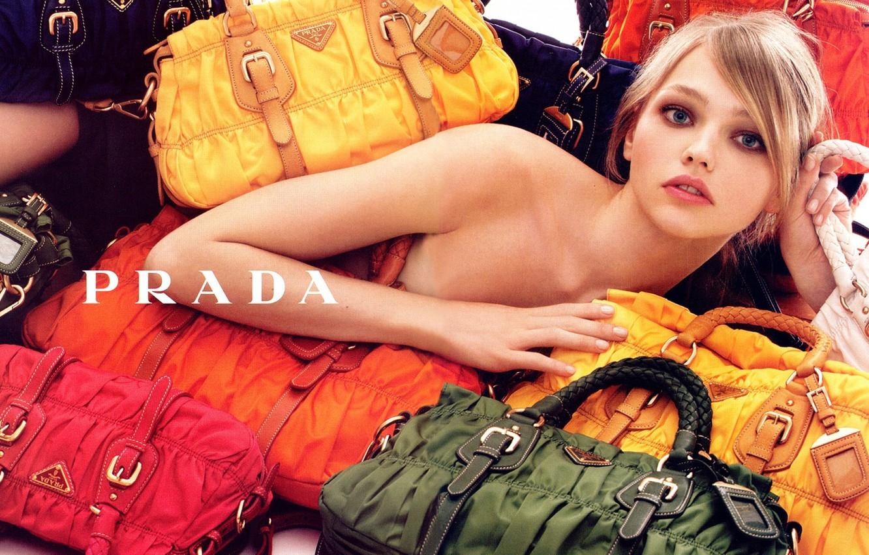 Фото обои сумки, красивая девушка, Prada, Pivovarova