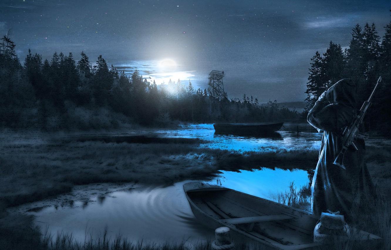 Обои рисунок, Вода, лодки, ночь, свет. Разное foto 7