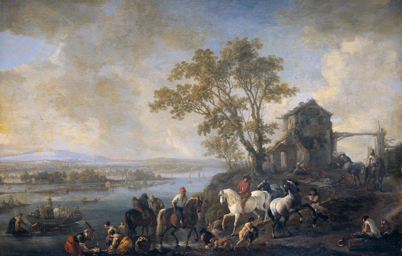 Фото обои пейзаж, дерево, масло, картина, Филипс Вауэрман, Всадники у Реки