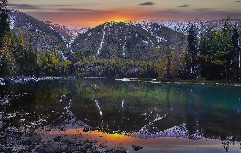 Фото обои закат, горы, природа, озеро