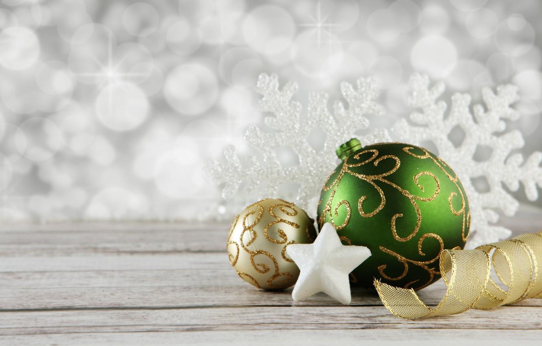 Фото обои украшения, праздник, шары, звезда, новый год, лента, снежинка