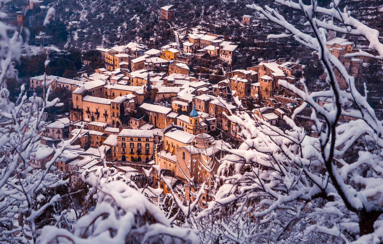 Фото обои Дома, Зима, Снег, Панорама, Крыши, Италия, Здания, Winter, Italy, Snow, Italia, Panorama, Piedimonte Matese, Пьедимонте-Матезе, …
