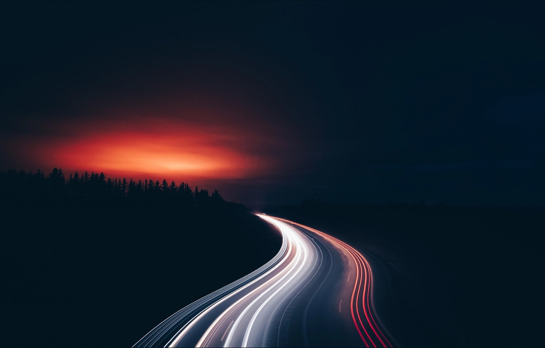 Обои дорога, ночь, огни. Разное foto 14