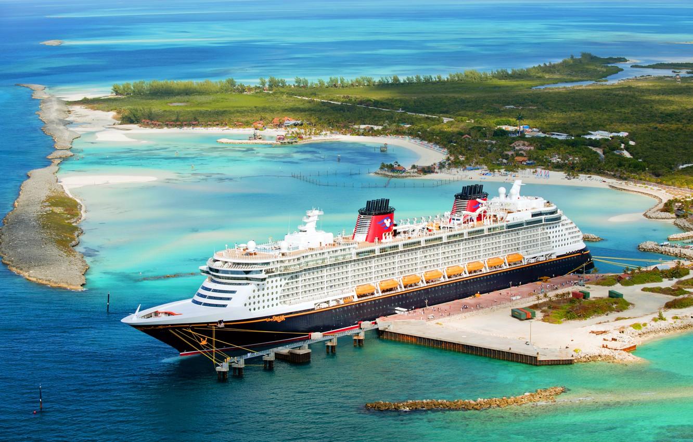 Фото обои Море, Причал, Остров, Лайнер, Судно, Disney, Пассажирский, Dream, Пассажирский лайнер, Disney Dream, Disney Cruise Line