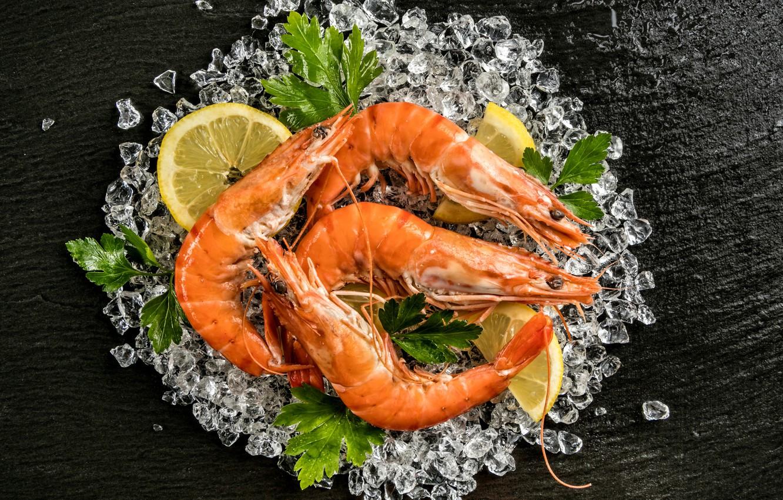 Фото обои лед, зелень, лимон, креветки, морепродукты, Seafoods, Shrimp, Lemons