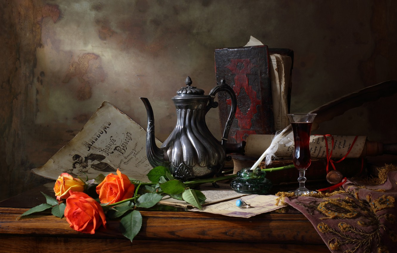 Фото обои стиль, исскуство, Still life with teapot and roses, Натюрморт с чайником и розами