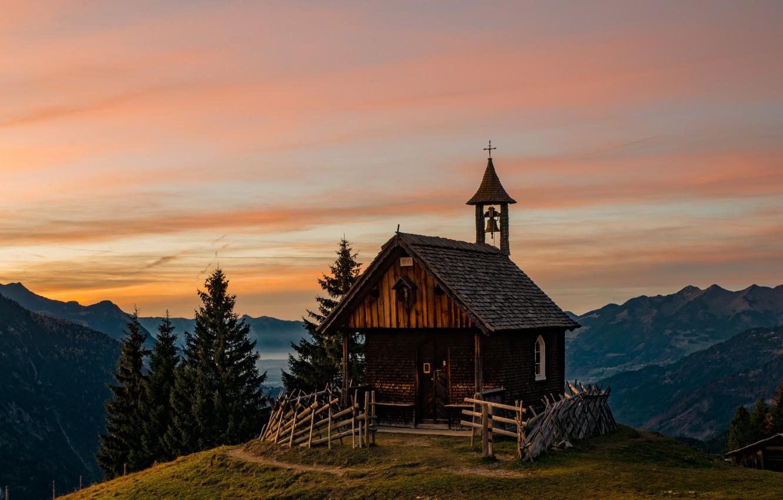 Фото обои горы, Австрия, Альпы, церковь, kirche