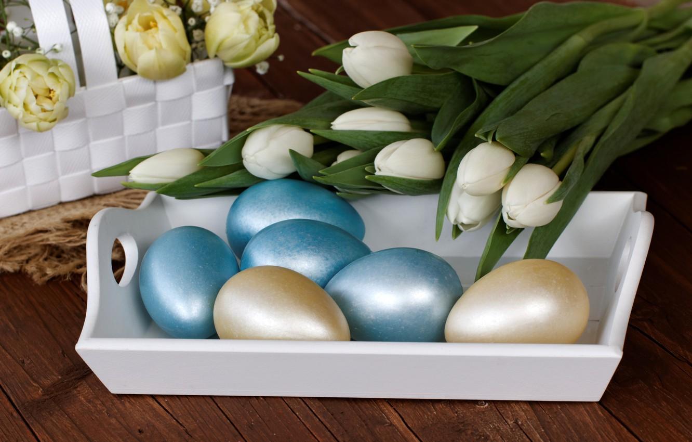 Фото обои цветы, праздник, яйца, пасха, тюльпаны