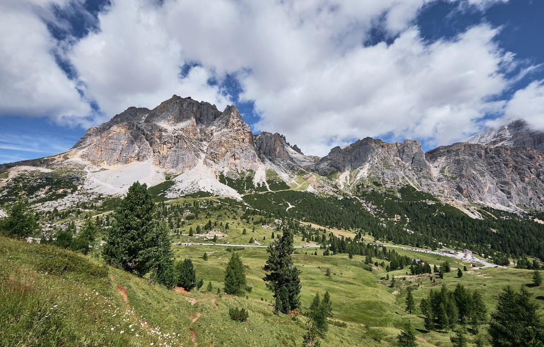 Фото обои Природа, Горы, Деревья, Пейзаж