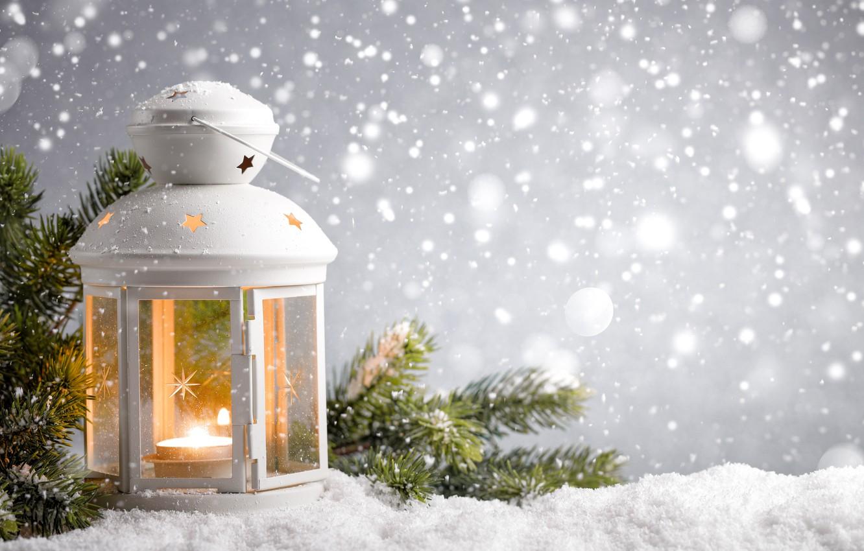 Фото обои Природа, Зима, Свечи, Снег, Ветки, Фонарь