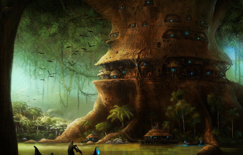 Фото обои река, лодки, огоньки, джунгли, хижины, летучие мыши, жилище, тропические, голубой свет, большое дерево