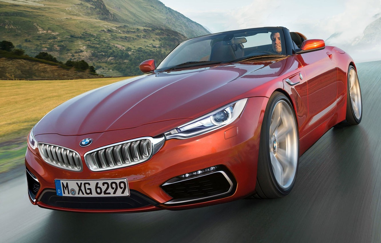 Фото обои дорога, горы, скорость, BMW