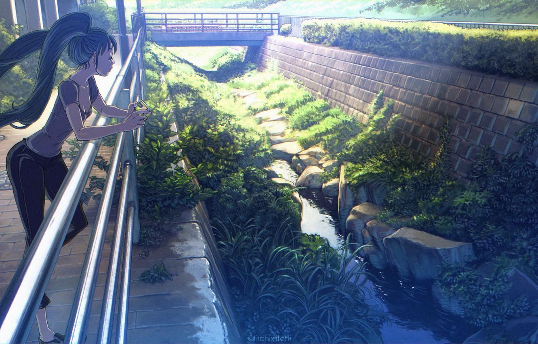Фото обои девушка, мост, природа, река, аниме, арт, телефон, vocaloid, hatsune miku, raichi