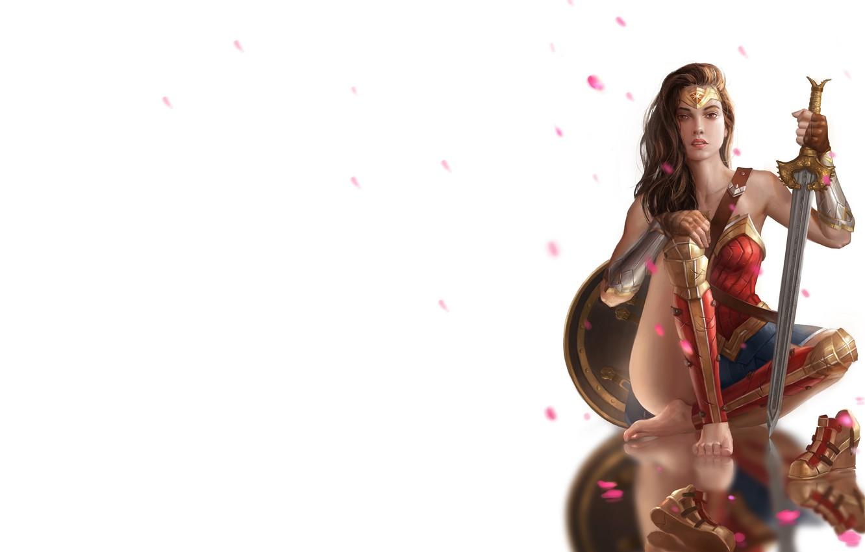 Фото обои оружие, меч, арт, щит, Чудо-женщина, Wonder woman, rxx 496