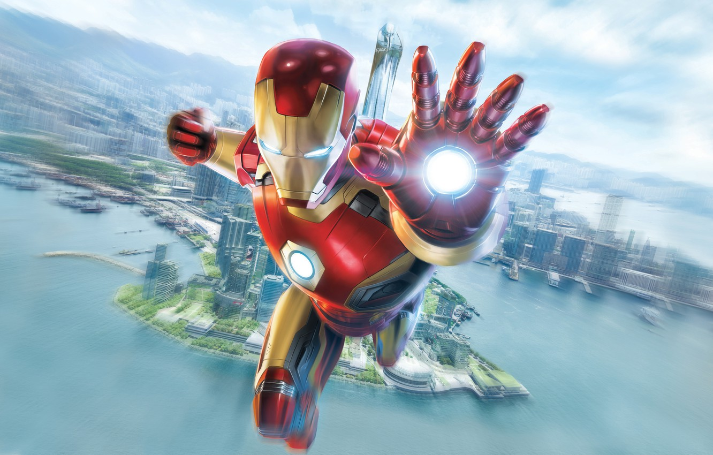 Фото обои море, небо, город, фантастика, высота, арт, костюм, Железный человек, Iron Man, Marvel, комикс, Tony Stark