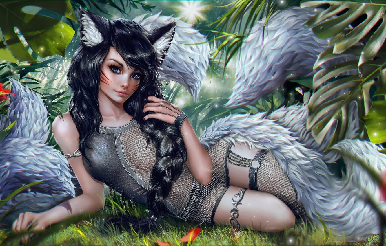 Фото обои Девушка, Эльфийка, Art, League of Legends, Ahri, Nine-Tailed Fox