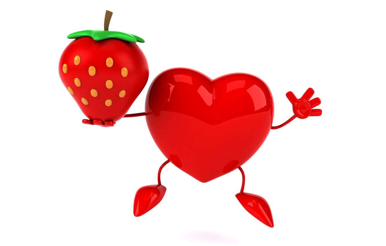 Фото обои сердце, клубника, heart, strawberry, funny, rendering, 3D Art