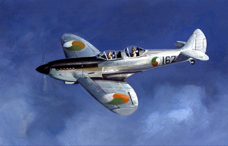 Обои Вторая мировая, истребитель, британский, spitfire, пилоты, рисунок. Авиация foto 6